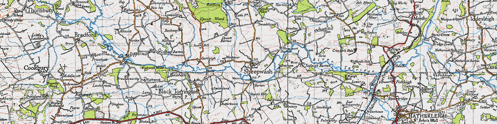 Old map of Wooda in 1946