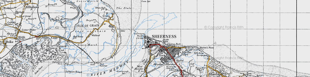 Old map of Sheerness in 1946