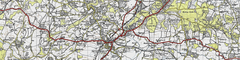 Old map of Adhurst St Mary in 1945