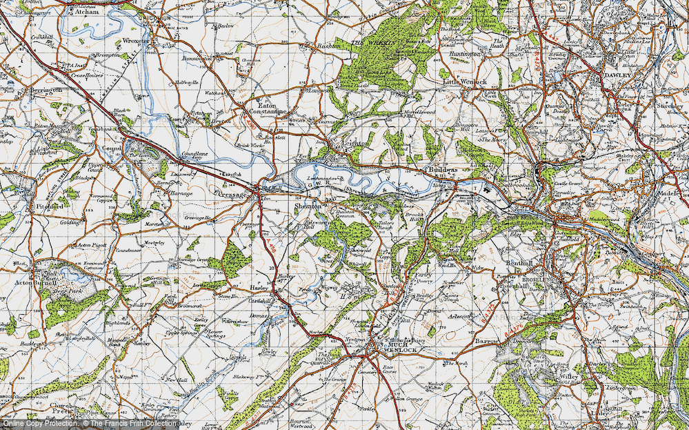 Old Map of Historic Map covering Bannister's Coppice in 1947