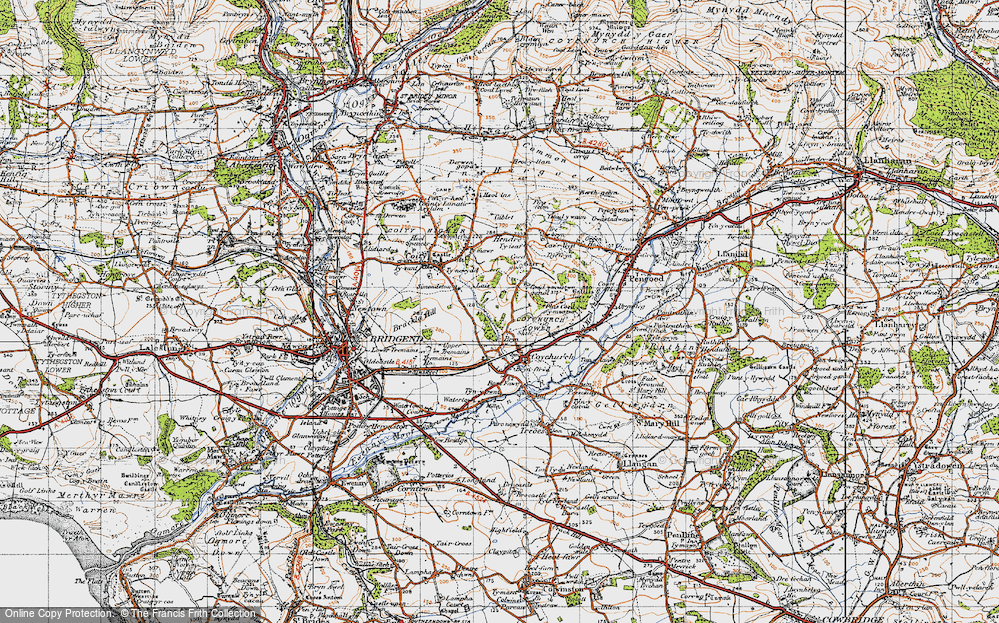 Old Map of Historic Map covering Hendre in 1947