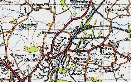 Old map of Shenfield in 1946