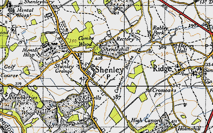 Old map of Shenley in 1946