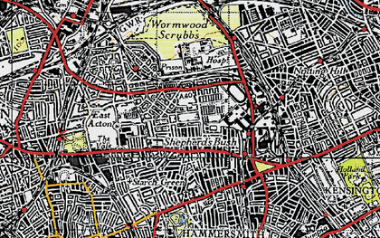Old map of Wormwood Scrubs in 1945