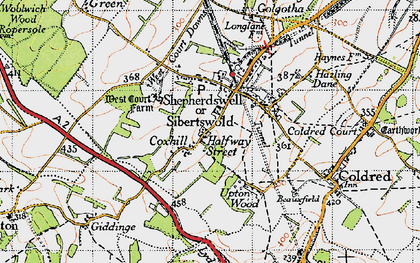 Old map of Shepherdswell in 1947