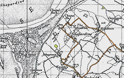 Old map of Ledges, The in 1946