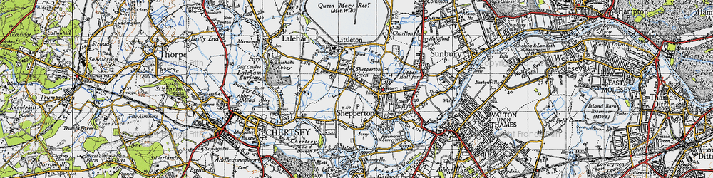 Old map of Shepperton in 1940