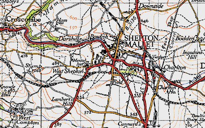 Old map of Shepton Mallet in 1946