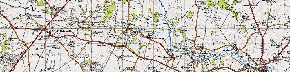 Old map of Sherborne in 1946