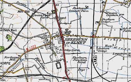 Old map of Sherburn in Elmet in 1947