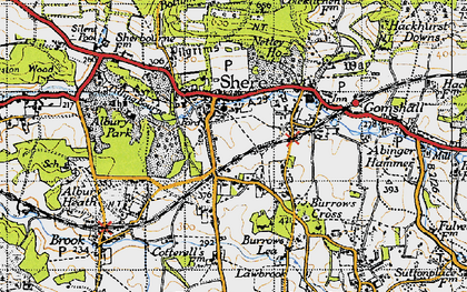 Old map of Shere in 1940