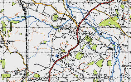 Old map of Sherfield on Loddon in 1945