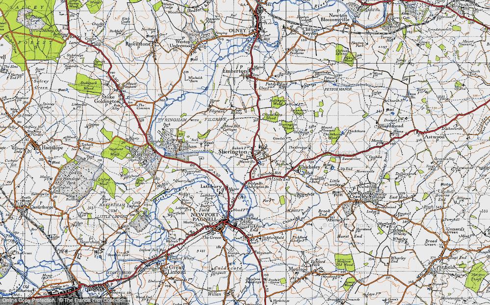 Old Map of Sherington, 1946 in 1946