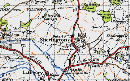 Old map of Sherington in 1946