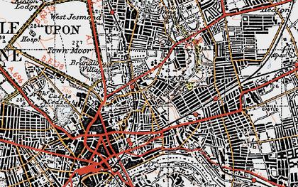 Old map of Shieldfield in 1947