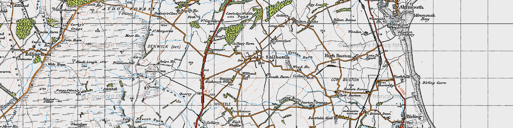 Old map of Shilbottle in 1947