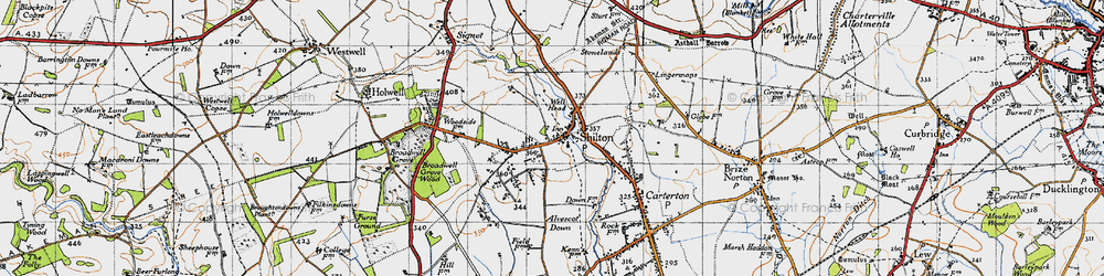 Old map of Alvescot Down in 1946