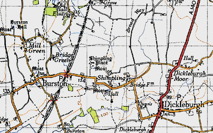 Old map of Shimpling in 1946