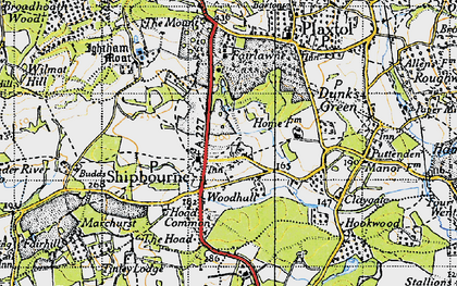 Old map of Shipbourne in 1946