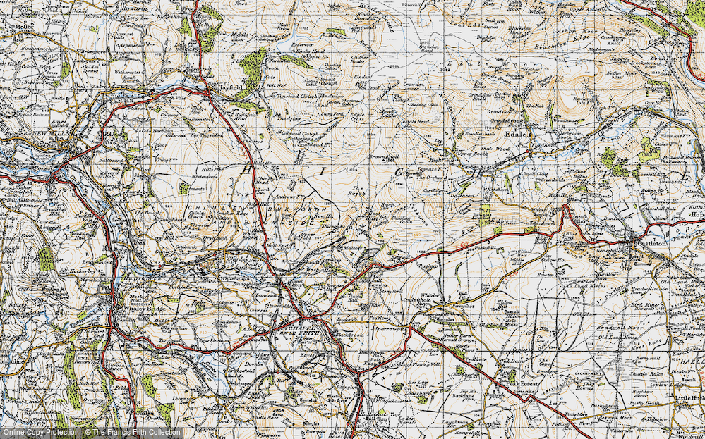 Old Map of Historic Map covering Toot Hill in 1947