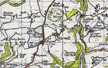 Old map of Youlston in 1946