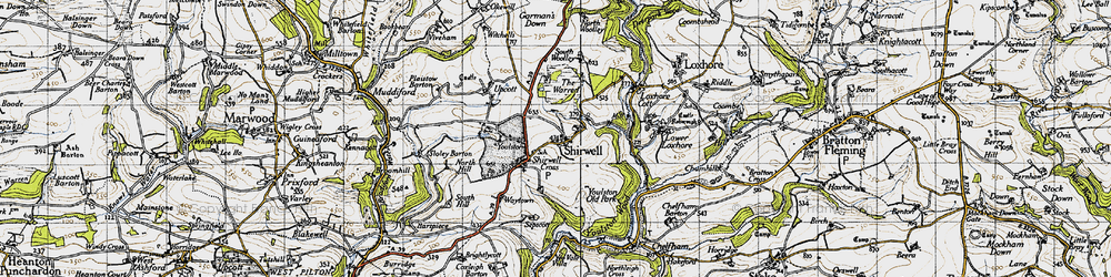 Old map of Shirwell in 1946