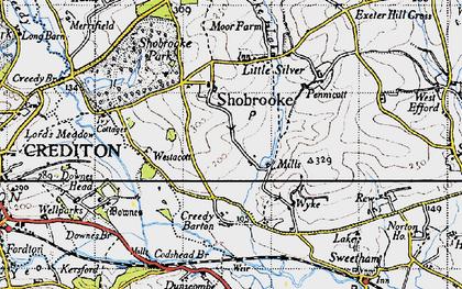 Old map of Westacott Cotts in 1946