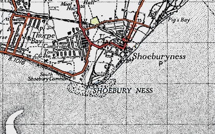 Old map of Shoeburyness in 1946