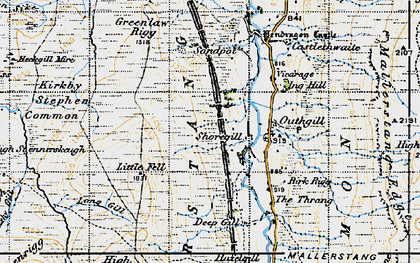 Old map of Wharton Fell in 1947