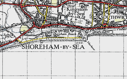 Old map of Shoreham-By-Sea in 1940
