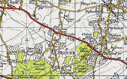 Old map of Shorne in 1946