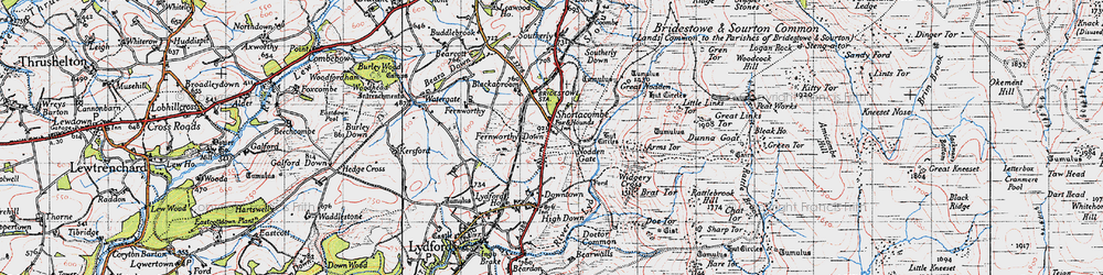 Old map of Widgery Cross in 1946