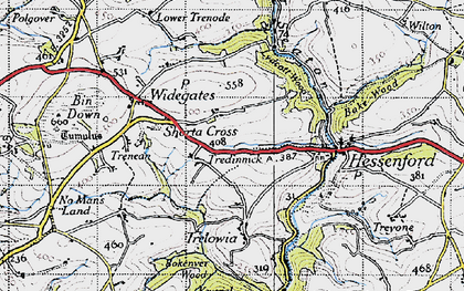 Old map of Shortacross in 1946
