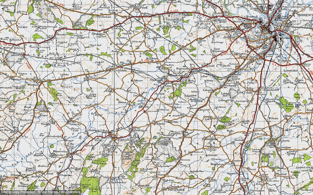 Old Map of Historic Map covering Lea Cross in 1947