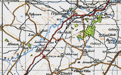 Old map of Lea Cross in 1947