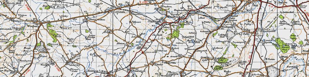 Old map of Lea Cross in 1947