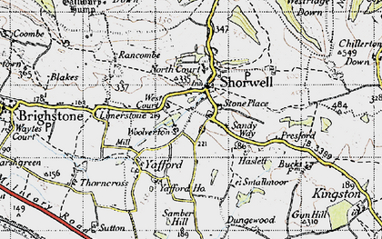 Old map of Shorwell in 1945