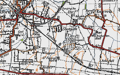 Old map of Shotgate in 1945