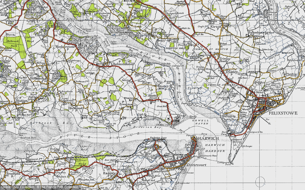 Old Map of Shotley, 1946 in 1946