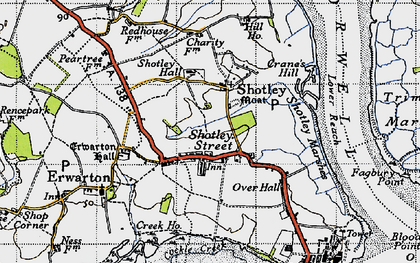 Old map of Shotley in 1946