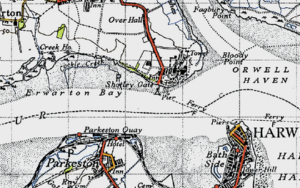 Old map of Shotley Gate in 1946