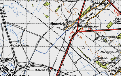 Old map of Shotwick in 1947