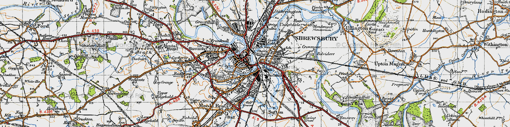 Old map of Shrewsbury in 1947