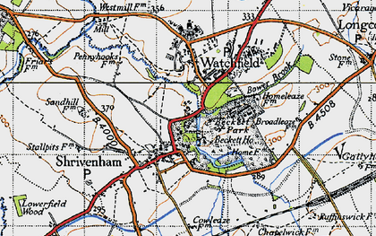 Old map of Shrivenham in 1947