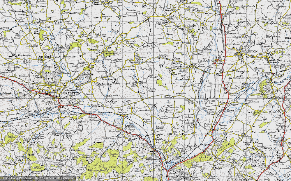 Old Map of Historic Map covering Yendacott Manor in 1946