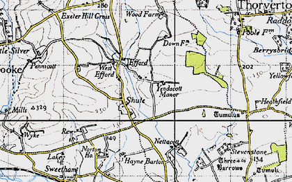 Old map of Yendacott Manor in 1946