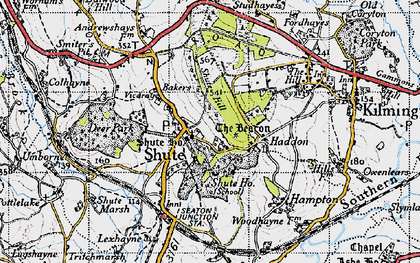 Old map of Shute in 1946