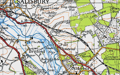 Old map of Ashley Hill in 1940