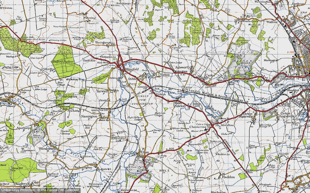 Old Map of Sibson, 1946 in 1946