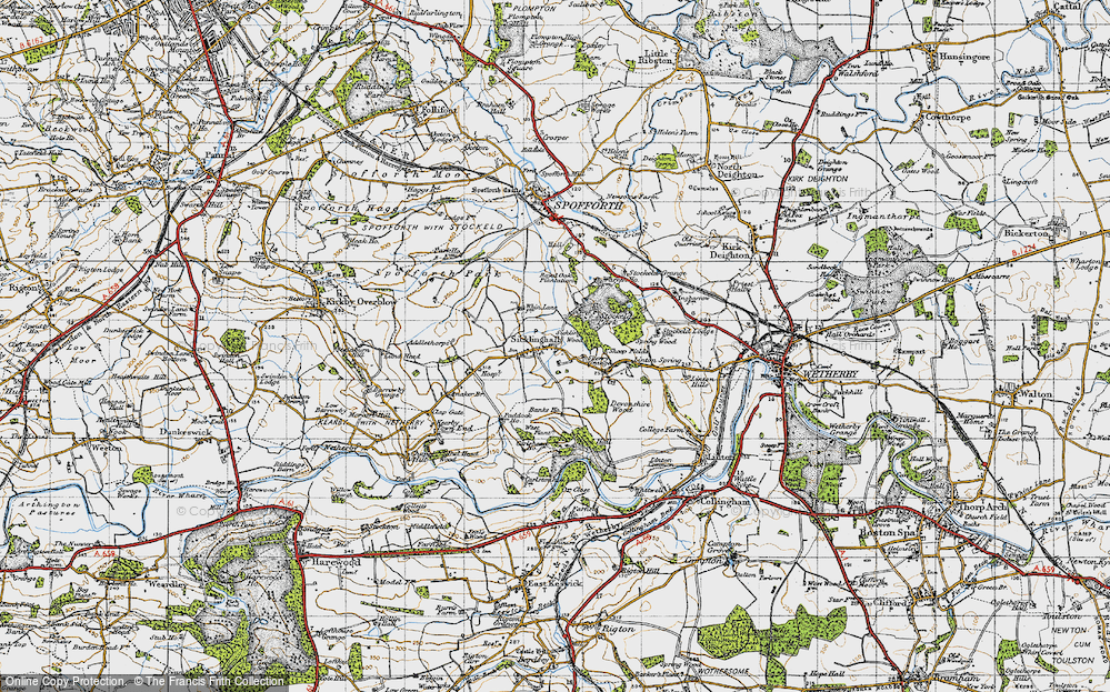 Old Map of Historic Map covering Linton Springs (Hotel) in 1947